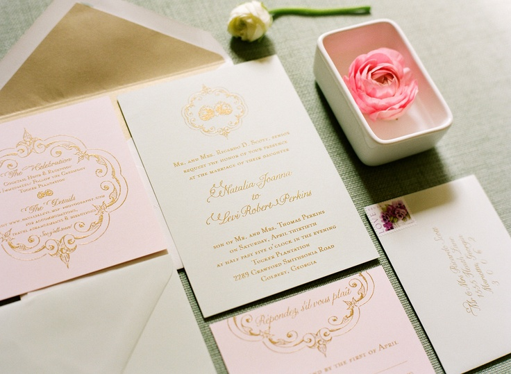 Gold Thermography Wedding Invitations, Featured In Southern Weddings  Magazine   Red Table Stationary (Melissa