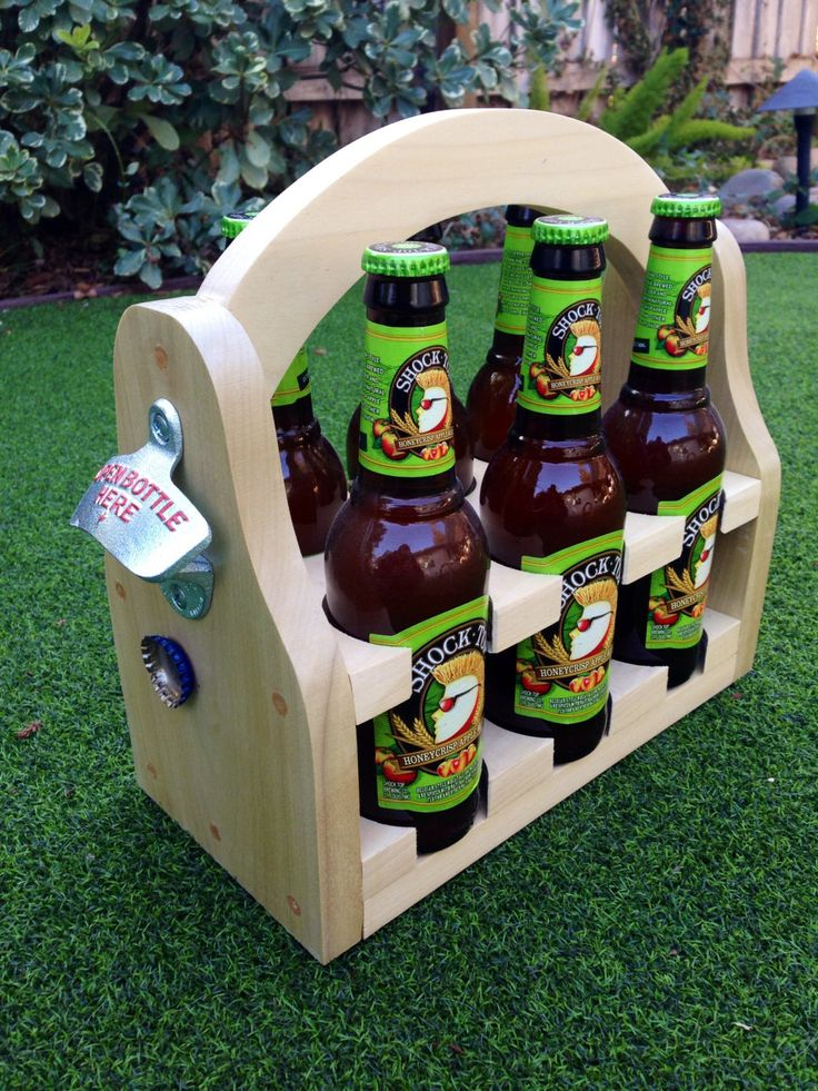 Wooden six pack holder with magnetic catch by JKwdwrk on Etsy