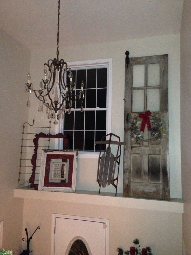 Rustic christmas ledge decor just love decorating with old for Above door decoration