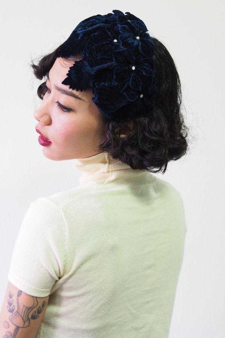 Vintage Hat Womens 1950s Velvet Navy Blue Fl Fascinator Headband Half Millinery