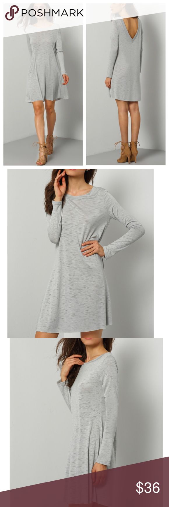 NWT Grey L/S Dress/Tunic w/Deep V-Back Grey Baggy Long Sleeve Casual Dress/Tunic with V-Back detail. Great with boots, heels or flats!  Dresses Length : S:87.5cm, M:88.5cm, L:89.5cm Bust(cm) : S:96cm, M:100cm, L:104cm Color : Grey Sleeve Length : Long Sleeve Dresses Length : Short Type : Shift Neckline : Round Neck MMC Dresses Long Sleeve