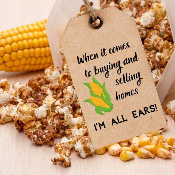 Popcorn Real Estate Printable Promotion Favor Tag Download Etsy In 2020 Marketing Business Card Promotional Products Marketing Free Printable Tags