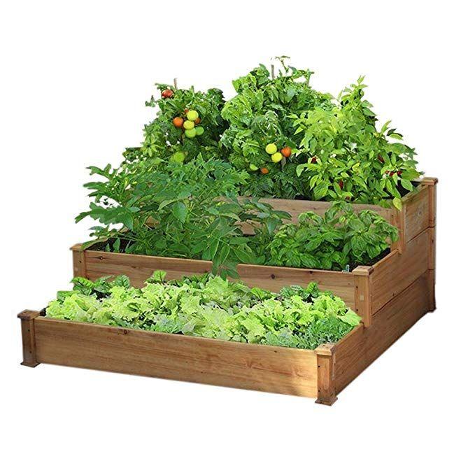 Amazon Com Yaheetech 3 Tier Wooden Elevated Raised Garden Bed