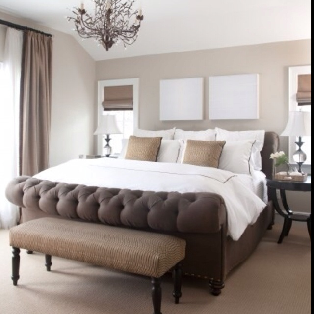 Chocolate Brown Aubergine Chic Bedroom Design With Chocolate Brown Walls Paint Color White Bed With White And Brown Fretwork Pillows Convex Mirror