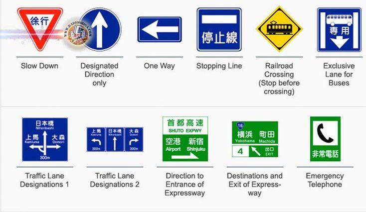 Sinais de trânsito em inglês estreiam este ano no Japão. Alguns sinais de trânsito no Japão se tornarão mais reconhecíveis para estrangeiros, este ano