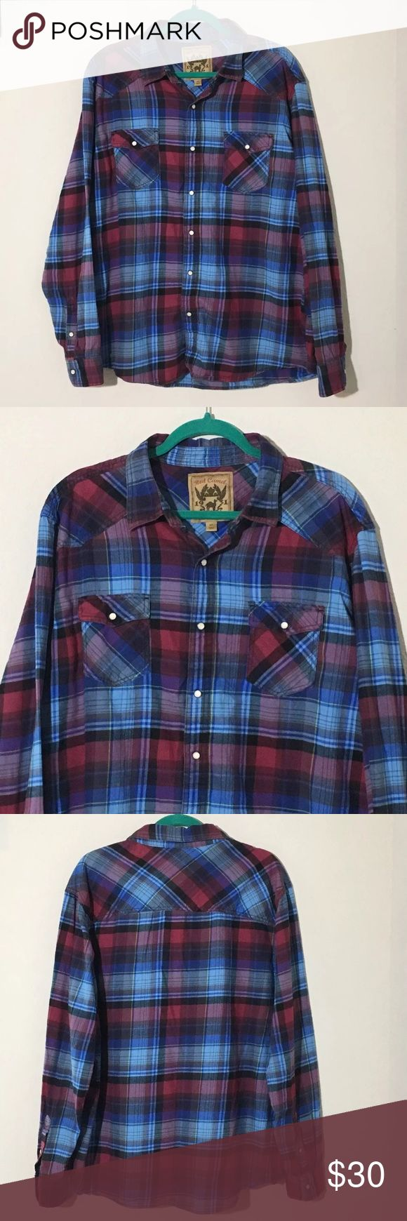 """Blue Red Plaid Snap Button Long Sleeve Shirt XXL Men's Red Camel blue and red plaid long sleeve snap button shirt. Size XXL 26.5"""" armpit to armpit, 29"""" shoulder to hem. Excellent condition no flaws Red Camel Shirts Casual Button Down Shirts"""