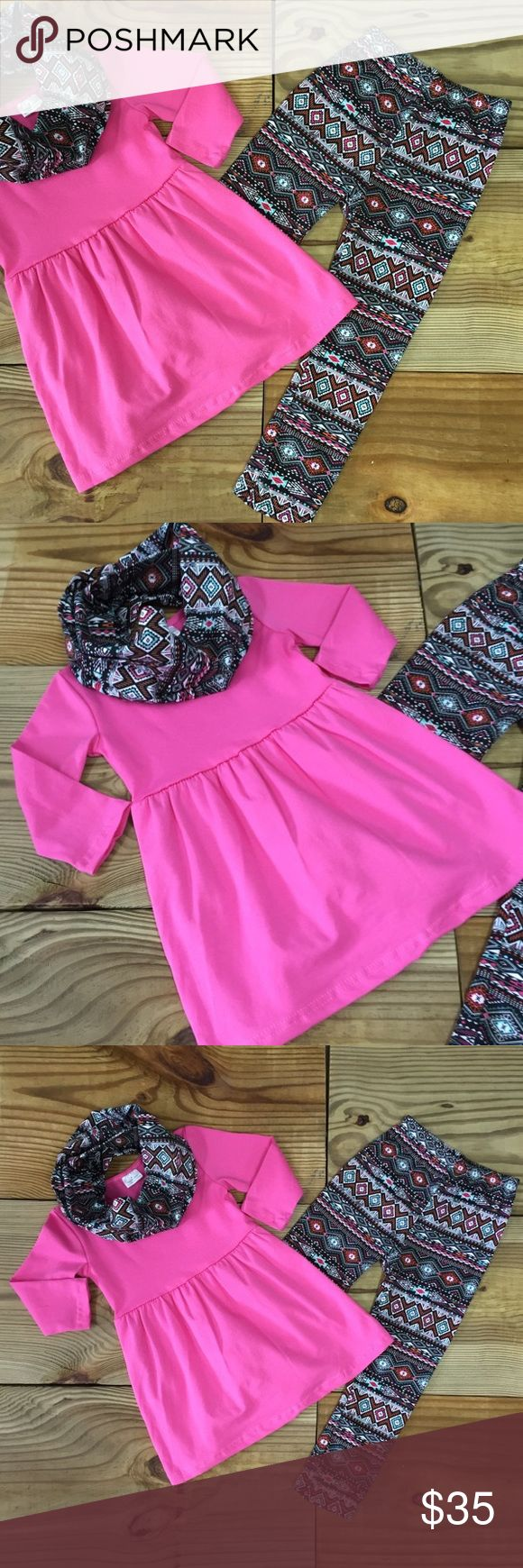 3-Pc Hot Pink Aztec Infinity Scarf Outfit Our girls hot pink aztec scarf outfit includes the tunic top, Aztec leggings, and matching infinity scarf. The tunic can also be worn as a dress. Super Trendy & So Comfy! 97% Cotton 3% Spandex TRUE TO SIZE Fast Shipping! Moxie Girl Matching Sets