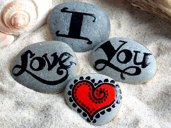 Painted Rocks / I Love You Magnets Set of 4 / by LoveFromCapeCod