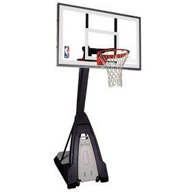 Spalding Portable Basketball Hoops The Beast 60 in. Glass Backboard.  This picture shows a basketball hoop.