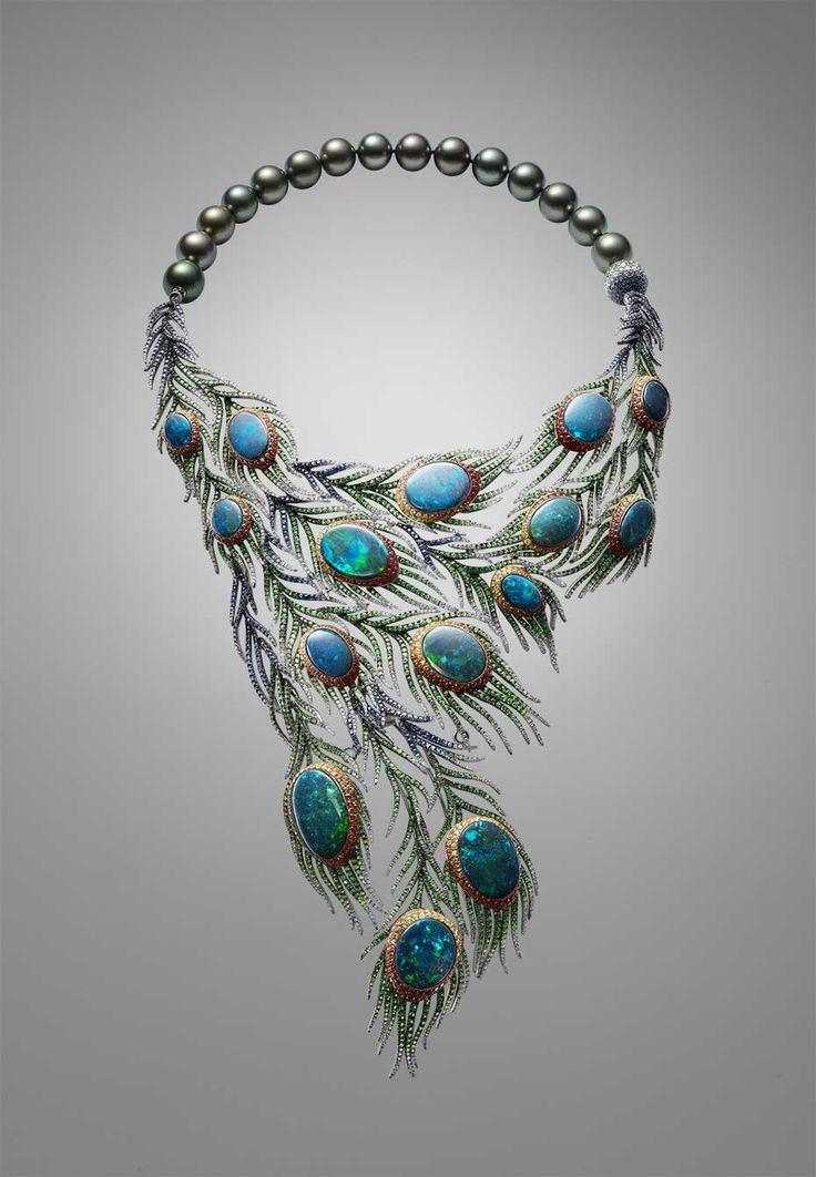 Part of a suite that includes earrings, a bangle and a ring, Alessio Bosch's Plumes necklace takes the peacock tail as its inspiration and uses 15 black opals as the centrepieces of cascading and movable feathers.