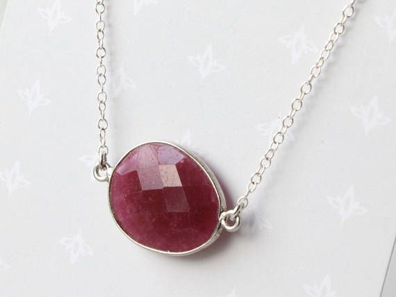 Ruby Oval Necklace Sterling Silver pinkish-red gemstone