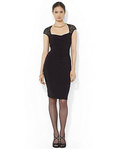womens apparel cap sleeved cutout dress ralph lauren