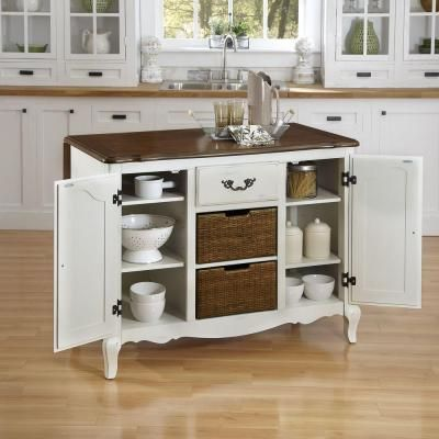Home Styles French Countryside 48 In. W Drop Leaf Kitchen Island With Two  Stools In