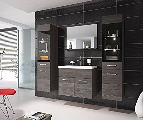 Badezimmer Badmöbel Rio XL LED 60 cm Waschbecken Bodega (Grau - unterschrank küche 60 cm