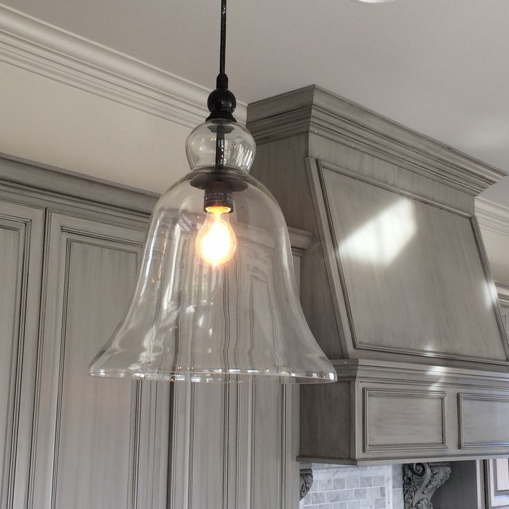 Kitchen Large Glass Bell Hanging Pendant Light In 2020