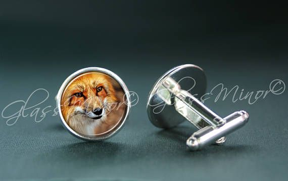 Fox Cufflinks, Foxhead Nature Woodland Jewelry, Groomsmen Usher Cufflinks, Wedding Cufflinks, Gift for Him, Shirt Cufflinks, Geekery Gift