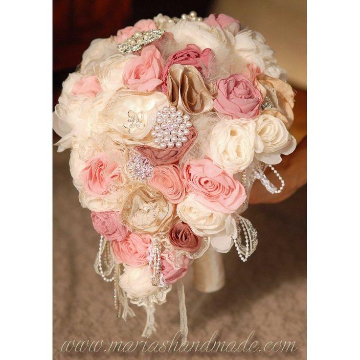 Fabric bridal bouquet, Wedding brooch bouquet, One of a kind tear drop bridal bouquet, by M.aria's Handmade fabric bridal bouquets
