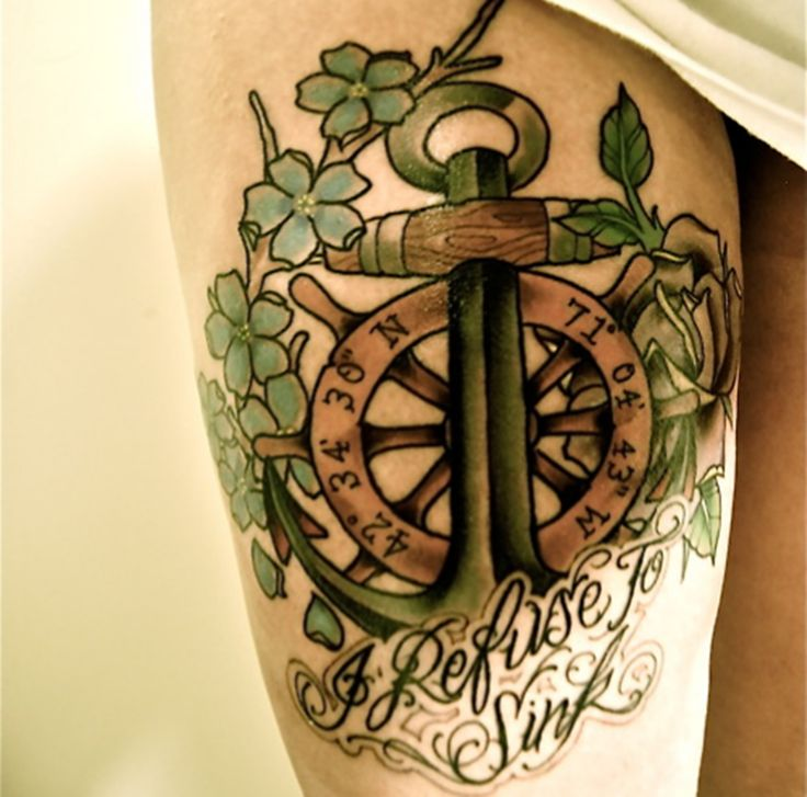 awesome anchor with green leaf watercolor tattoo quotes - refuse to sink
