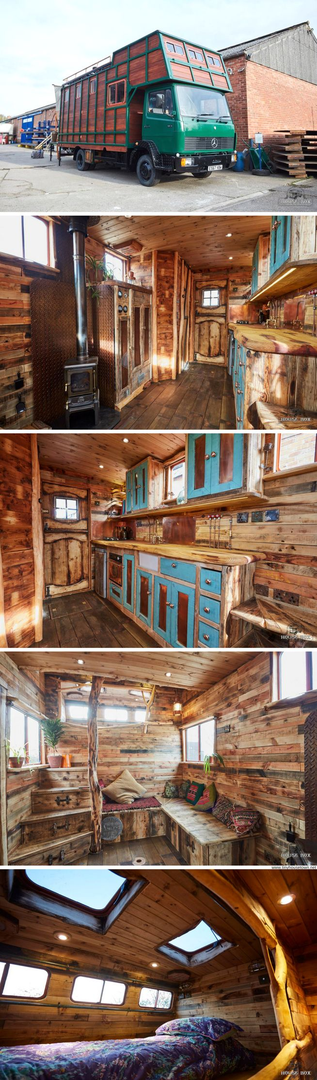 A former horse box transformed into a cozy, rustic tiny house on wheels