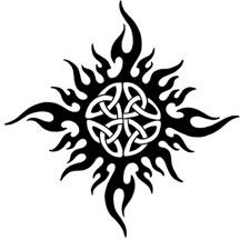 I really like this celtic sun tribal tattoo in terms of general shape and high-level design, but I'd want to add some elements in the center.  I think the outside could be a little better too.  Its looks a little too much like flames on the side of a 50's hot rod.  :)