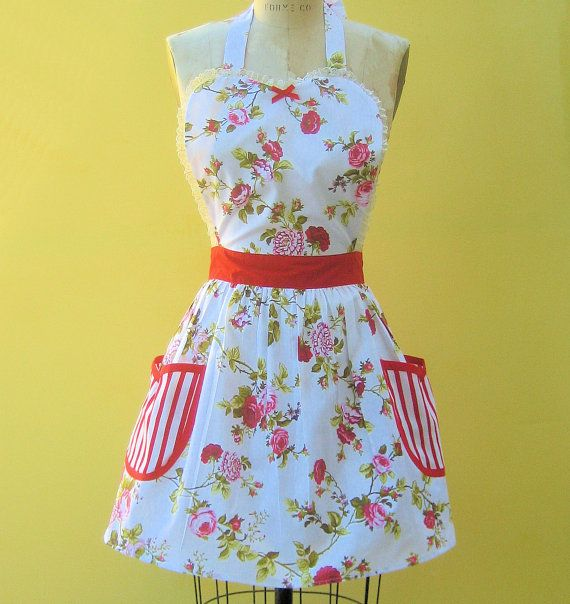 apron Cottage Chic pretty floral red Womens by loverdoversclothing