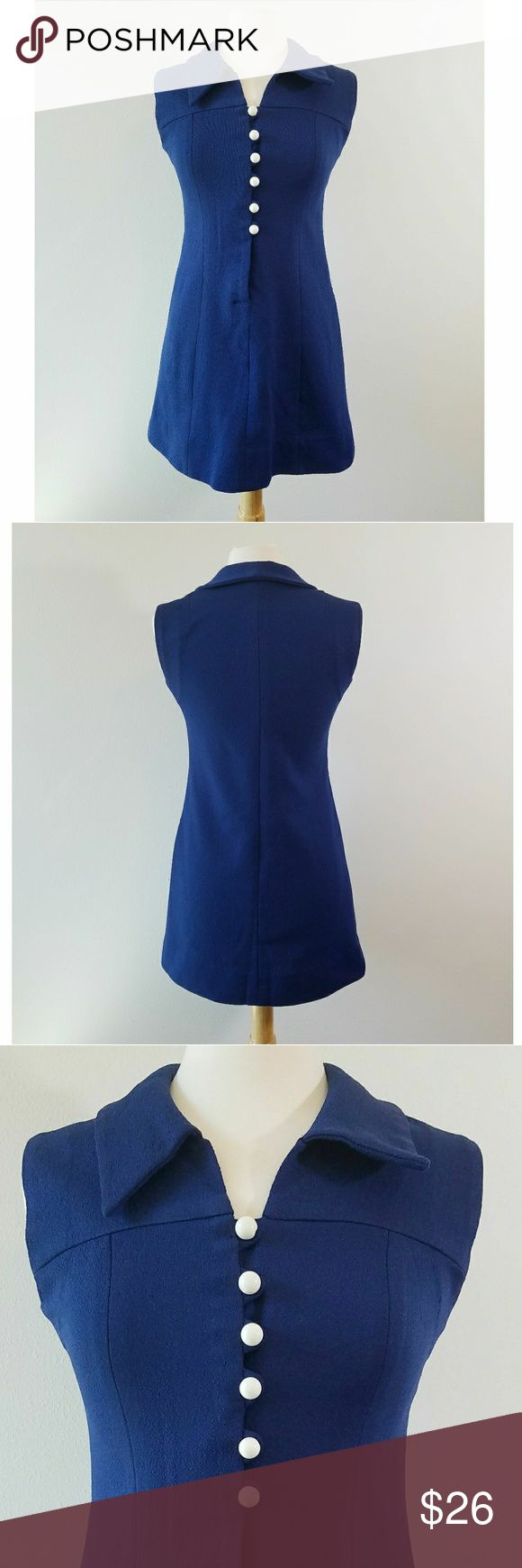 """Vintage 1960's Navy Mini Dress Vintage 1960's Navy Mini Dress. Excellent condition. Large buttons. Collared neck. Polyester. Dress form is a size 6 and this dress fits it well, but please refer to measurements for best fit. Bust 36"""", Waist 33"""", Hips 40"""". Vintage Dresses"""