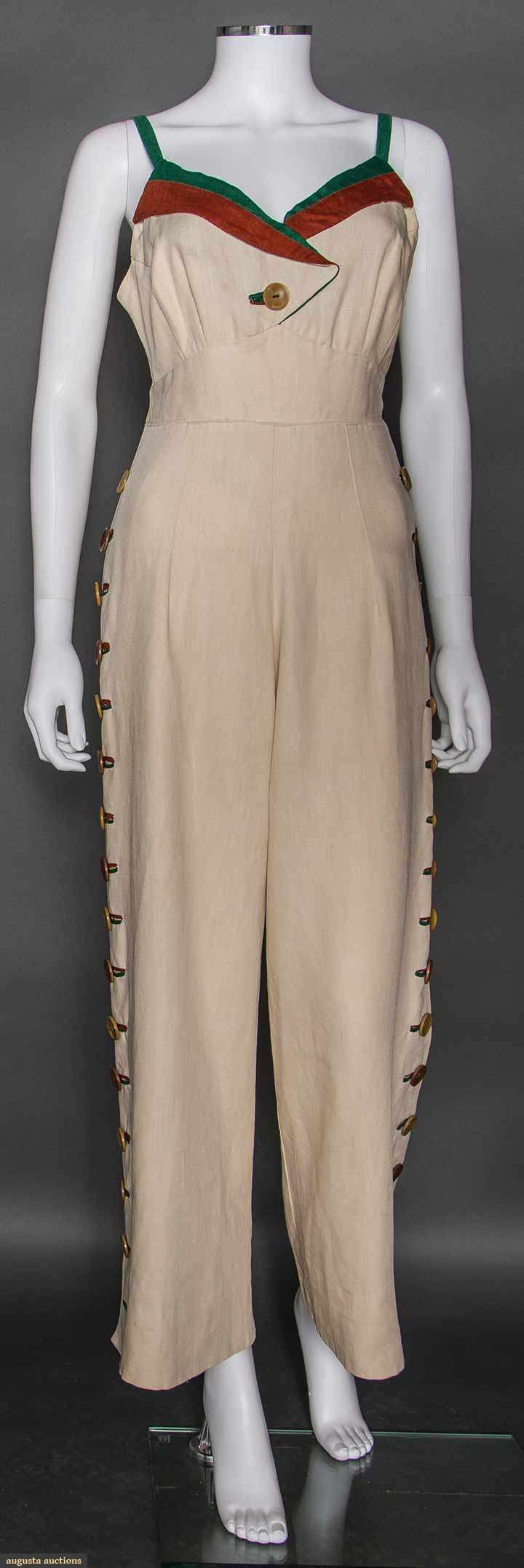 LINEN TRI-COLOR PLAY SUIT, 1930s Cream linen & rayon jumpsuit & jacket, bodice trimmed w/ green & rust linen, narrow straps to bra back, wide leg pants w/ sides trimmed w/ large buttons, matching short fitted jacket, sleeves w/ same button details
