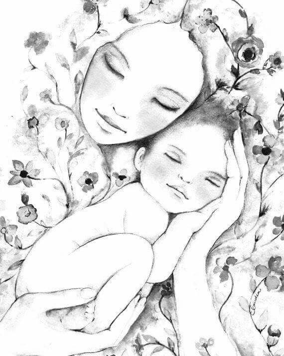 Мама с ребенком картинка черно белая
