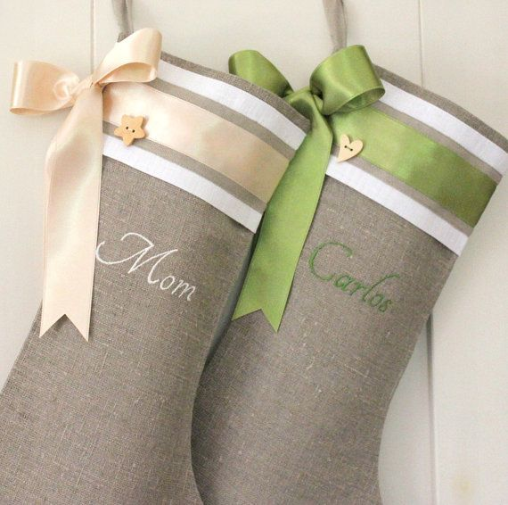 Would love contrasting ribbon - turqoise on gray stocking and vice versa.Personalized Embroidered Christmas stockings by KatysHomeDesigns, $36.00