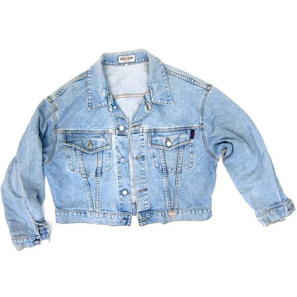80s GUESS Jean Jacket Light Wash Denim Jacket DELLS Faded Distressed... ($58) ❤ liked on Polyvore featuring outerwear, denim jacket and jean jacket