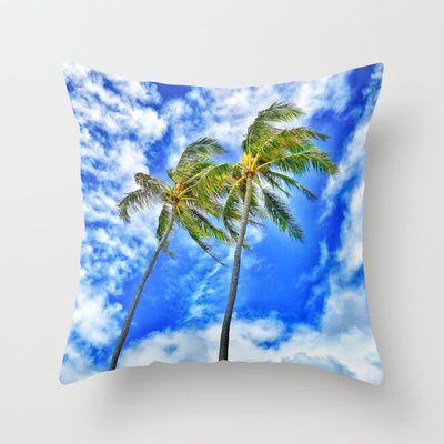 Palm Trees Throw Pillow by Stoneriver - $20.00  LIVE ALOHA Art Print by Stoneriver - $15.00   #hawaii #sunset #romantic #vacation #travel #trip #silhouette #palmtree #nature #dusk #landscape #ocean #surfing #oahu #waikiki #waikikibeach #beach #tropical #typography #aloha #livealoha #colorful #happy #present #lanikai #lanikaibeach #pillow #throwpillow #sky #clouds