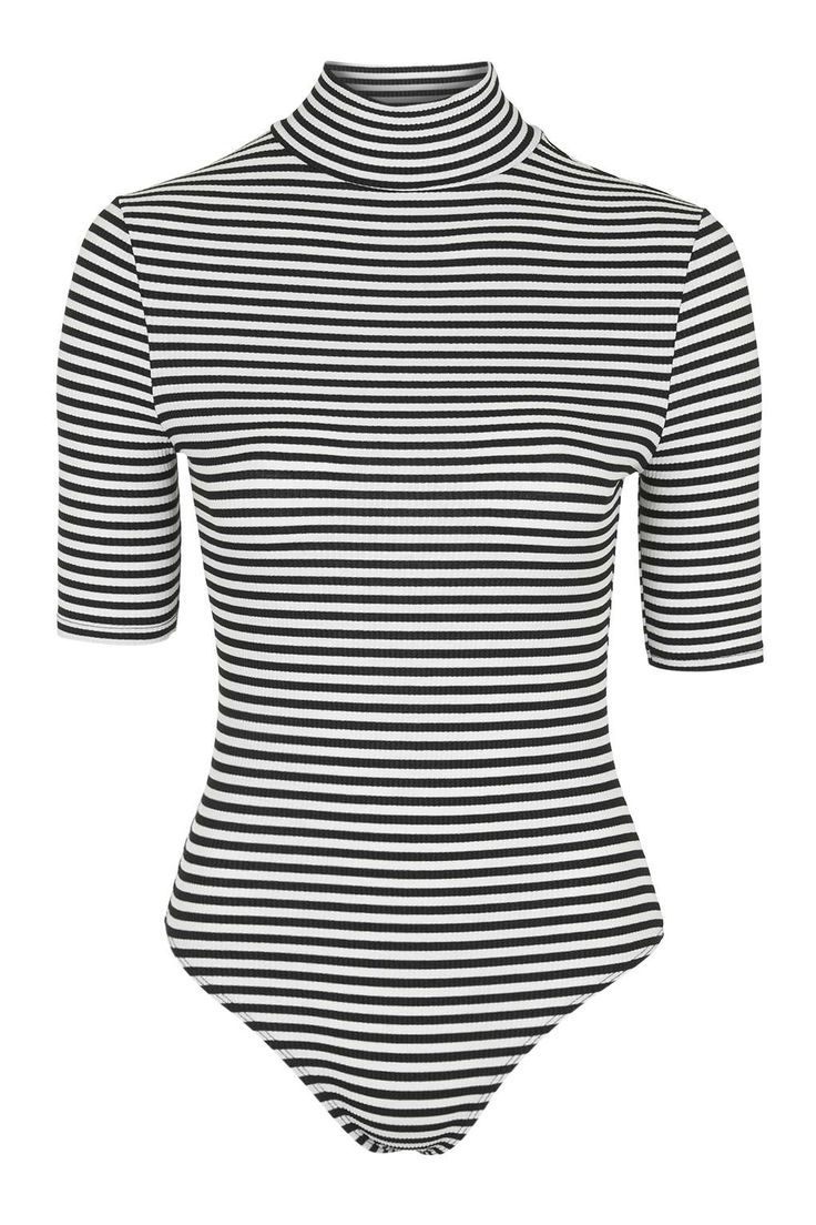 Get an effortless, everyday look with a striped turtleneck bodysuit from Topshop.