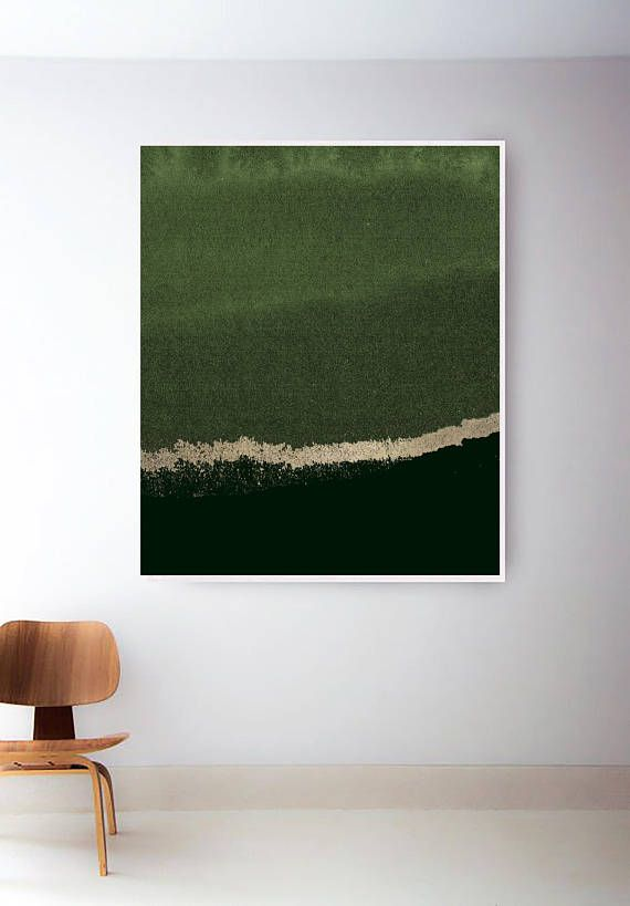 Forest Green Print Abstract Sage Art Gold Olive Walls Wall