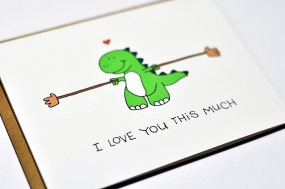 cute t rex cartoon | 10. Cute Valentine card - Dinosaur T-rex I love you this much | via ...