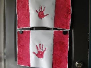 Canada Day handprint flag craft