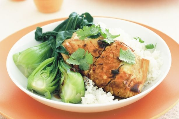Serve the aromatic fish with bok choy and rice for a complete, family-friendly meal.
