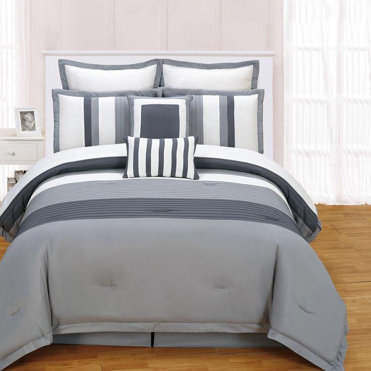 Rochester 8 Piece Comforter Set in Grey