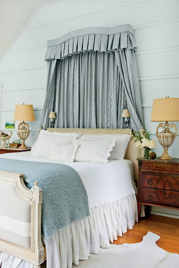 This bedroom's Gustavian bed is framed by an upholstered cornice and draperies. Instead of drywall, Bethany paneled the bedroom with charming board-and-batten and painted it Fanfare by Benjamin Mooore. Farmhouse Bedroom Decor, Farmhouse Interior, Rustic Farmhouse, Farmhouse Ideas, Farmhouse Style, Elegant Home Decor, Elegant Homes, Boudoir, Blue Master Bedroom
