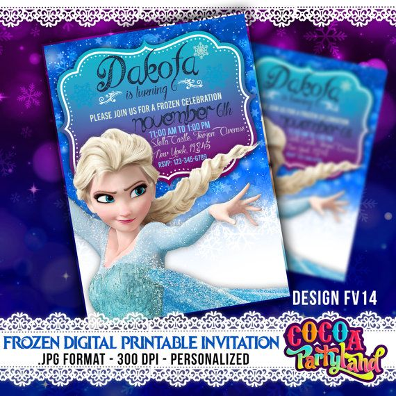 Disney Frozen Digital Printable Invitation, elsa Frozen Invitations, Disney Frozen Invitations, Frozen Invitations, Frozen Printables