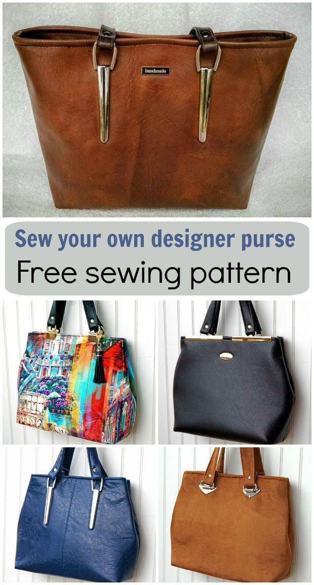 Free bag sewing pattern. I love the simple lines on this purse sewing pattern. Easy to get a designer bag look from this with the right fabric and hardware.
