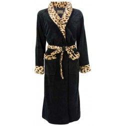 Panter motieven op koudebestendige zwarte dames badjas