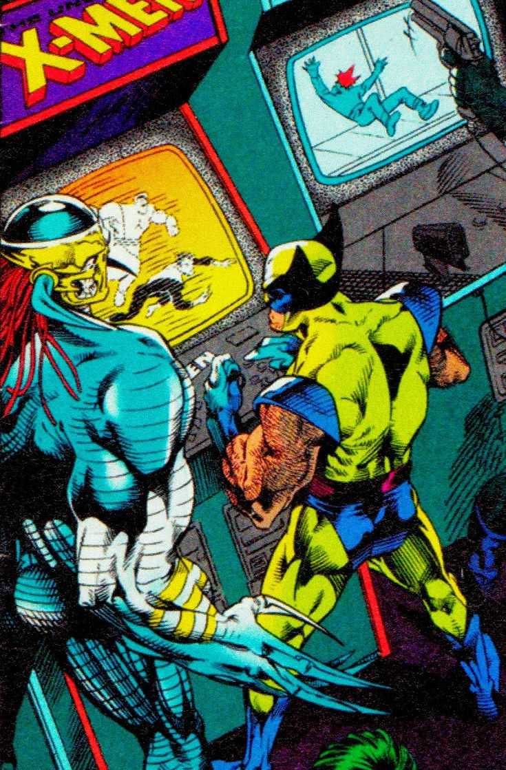 Wolverine playing X-Men arcade with the Death's Head II.