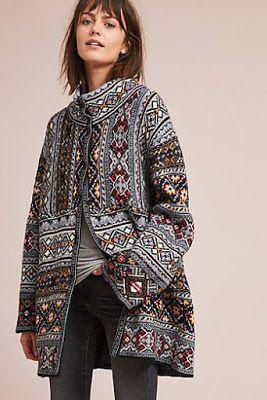 A Vibrant Boho Chic Motif Enlivens This Incredibly Soft Intarsia Coat