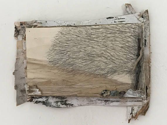 Modern Rustic Small Wall Art Nature Inspired Birch Bark