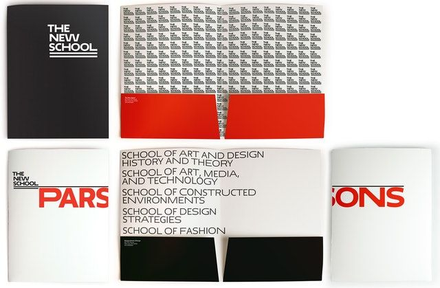 Press kit folders for The New School and Parsons.