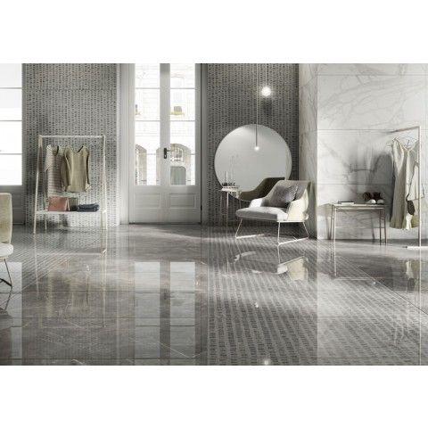 Med ny teknologi har man skapat denna platta som har ett fantastiskt djup och ljusstyrka, de typiska färgerna och skuggningarna i grått som återges på ett väldigt trovärdigt sätt och ger känslan av dyrbar marmor. Den kan användas både ute och inomhus och tå både golvvärme och frost.     Marmorea Grigio Imperiale L/R 600x600 mm - Klinker 994,44 kr /m2