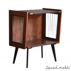 Stylish TV table. Dark brown. Steel lines on sides. Polish product. #tv #table #wood #vintage #polishdesign #mid #century #modern #design #szafka #RTV #meble #polskie