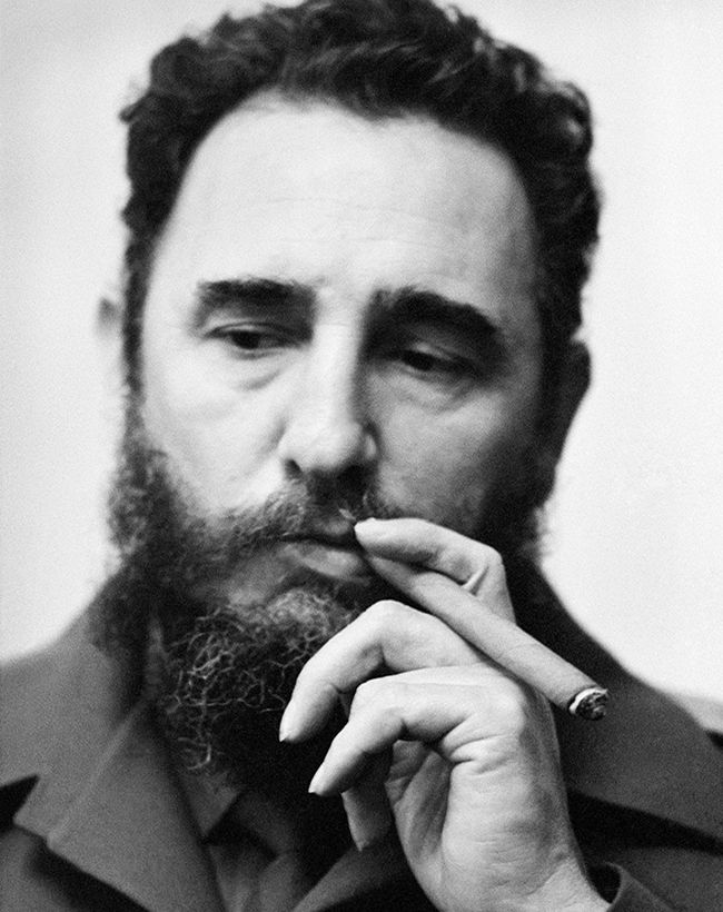Fidel Castro striking his famous pose.  Arrested and jailed for opposing an oppressive, US-backed regime, he led a revolution and maintained power in Cuba for 50 years.  He survived hundreds of assassination attempts and 9 US presidents.