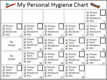 I put this together for a gal in my class that is having hygiene problems.  If she gets all four checkmarks for the day she gets a sticker in her box.  5 days of stickers in a row and she gets to pick a personal hygiene item from the box (deodorant, soaps, toothbrush, paste, smelly spray etc.