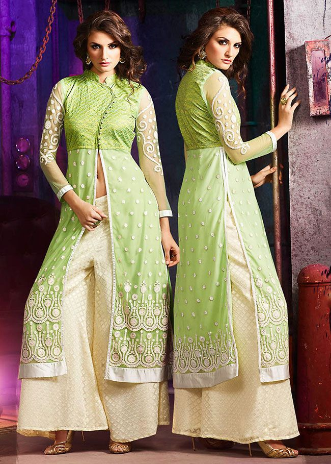 Glorious #Green Palazzo Suit @ http://www.indiandesignershop.com/product/glorious-green-palazzo-suit/